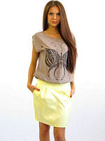 Яркая летняя юбка модной формы с карманами, фото 1