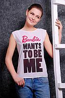 Элегантная летняя футболка из креп-шифона и мягкой вискозы с оригинальной надписью