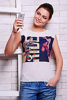 Оригинальная женская футболка выполнена из креп-шифона  сзади на спинке мягкая вискоза с принтом