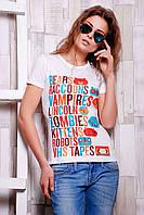 Модная летняя футболка в спортивном стиле с ярким оригинальным принтом спереди