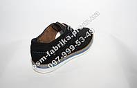 Мужские замшевые туфли темно-синие на шнурках