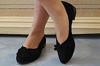 Стильные черные замшевые балетки с бантиком. АРТ-0510