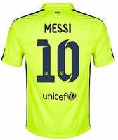 Футбольная форма Барселона Месси (Messi) 2014-2015 выездная (салатовая)
