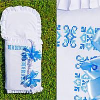 """Конверт для мальчика с голубой вышивкой """"Геометрия цветов"""" Ручная работа"""
