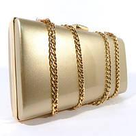 Клатч-бокс сумочка лаковая женская светло-золотистая 8119-2