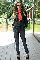 Блуза черная с коралловым бантом из креп-шифона