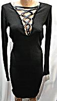 Платье трикотажное со шнуровкой