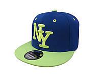 Кепка Snapback New York синяя с салатовым козырьком