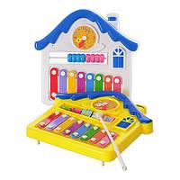 Детский ксилофон Домик с часиками