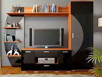 """Мебель для гостиной """"Ольвия нова"""" черный глянец (Сокме)"""