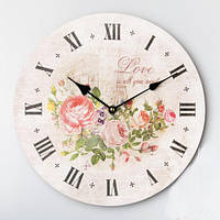 """Круглые настенные часы """"Букет"""" (35 см)"""