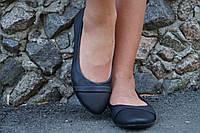 Черные женские стильные балетки из натуральной кожи. АРТ-0533
