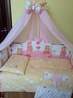 Комплект детской постели «ASIK» мишки с лейками ( 8 ед. ) №122 для девочки