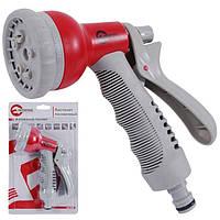 Пистолет-распылитель для полива 8-ми функциональный (центральный, туман, душ, угловой, полный, проливной дождь, конический, плоский.) ABS, PP,TPR INTE