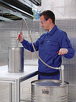 5601-0401 Насос для бочек нерж.сталь, сливная гибкая трубка и кран, глубина погр. 36 см, 220 мл/такт