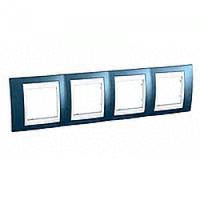 MGU6.008.854. Рамка 4-постовая. Unica Plus. Голубой лед/Белый Unica