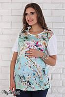 """Свободная футболка для беременных """"Marla"""", цветы на аквамариновом фоне с белым"""
