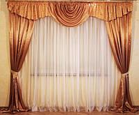 Ламбрекен и шторы для спальни комплект Тамилла