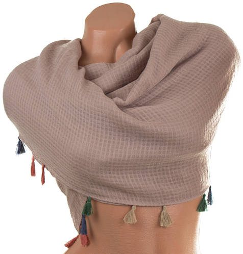 Эффектный женский хлопковый шарф 175 на 118 см. ETERNO (ЭТЭРНО) ES1405-15-2, бежевый
