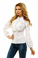 Нарядная женская рубашка с рюшами