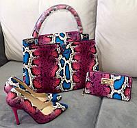 Стильный набор LOUIS VUITTON: сумка, обувь, кошелек красно-синий