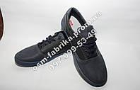Мужские спортивные кожаные туфли на шнурках черно-синие