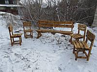 Лавка + 4 стула. Садовая мебель купить. Мебель для дачи купить