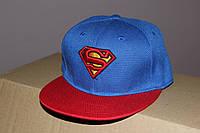 Детская кепка с прямым козырьком Супермен синяя