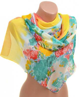 Красочный женский шарф 50 на 160 из легкого шифона 10112 B1