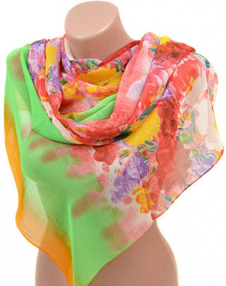 Незабываемый женский шарф 50 на 160 из легкого шифона 10112 B4
