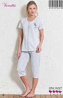 Женский комплект из футболки и капри для сна и дома.