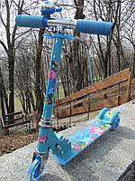Самокат детский трехколесный металлический голубой Дельфинчики