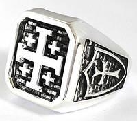 Крестоносец серебряное мужское кольцо перстень печатка с крестом, срібний чоловічий