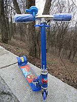 Самокат детский трехколесный металлический синий Тачки