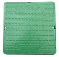 Люк полимерный квадратный зелёный с замком