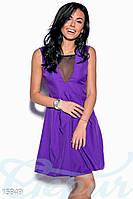 Соблазнительное короткое женское платье с завышенной талией со вставками сетки на груди без рукавов габардин