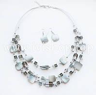 Комплект украшений ожерелье и серьги «СЕРЫЙ ПЕРЛАМУТР»