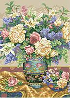 Рисунок на канве для вышивки нитками мулине 30493 пионы и сирень