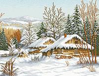 Рисунок на канве для вышивки нитками мулине 40663 Зима в Карпатах