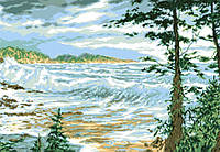 Рисунок на канве для вышивки нитками мулине 71503 Прибой