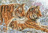 Рисунок на канве для вышивки нитками мулине 81583 Тигры зимой