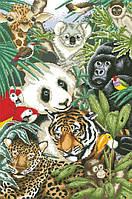 Рисунок на канве для вышивки нитками мулине 81593 Экзотические животные