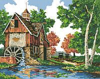 Рисунок на канве для вышивки нитками мулине 81663 Водяная мельница