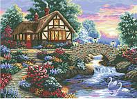 Рисунок на канве для вышивки нитками мулине 81673 Домик с розовыми облаками