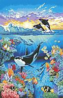 Рисунок на канве для вышивки нитками мулине 81683 Жители океана