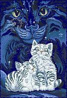 Рисунок на канве для вышивки нитками мулине 81743 Звездные котики