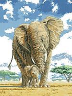 Рисунок на канве для вышивки нитками мулине 51003 Слоны