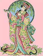 Рисунок на канве для вышивки нитками мулине 62373 Гейша с птицей