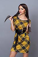 Модное платье в желтую клетку  , р  44-48
