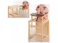 """Деревянный стульчик-трансформер для кормления """"Карапуз"""". Божьи коровки персик"""